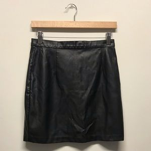Garage black leather mini skirt